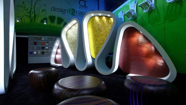 Futuristic Wooden furniture with integrated LED lighting