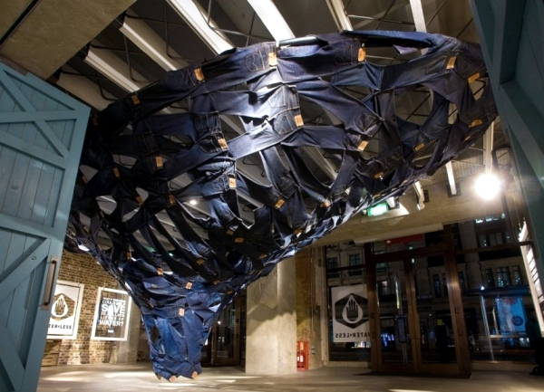 Installation of Modern Art - Swirling water Levis jeans