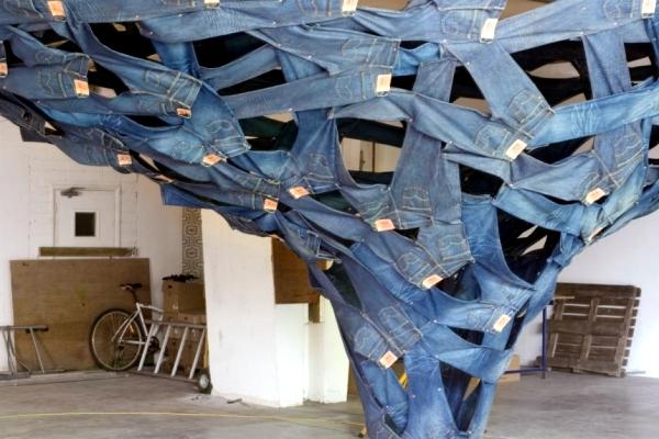 Installation of Modern Art - Swirling water Levis jeans