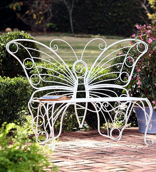 Wooden Bench 48 creative ideas garden design, stone and wrought iron