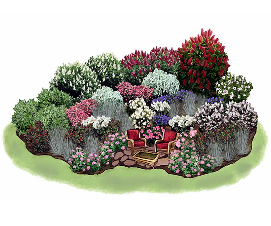 Planning example flower garden and seating area interior for Flower garden layout examples