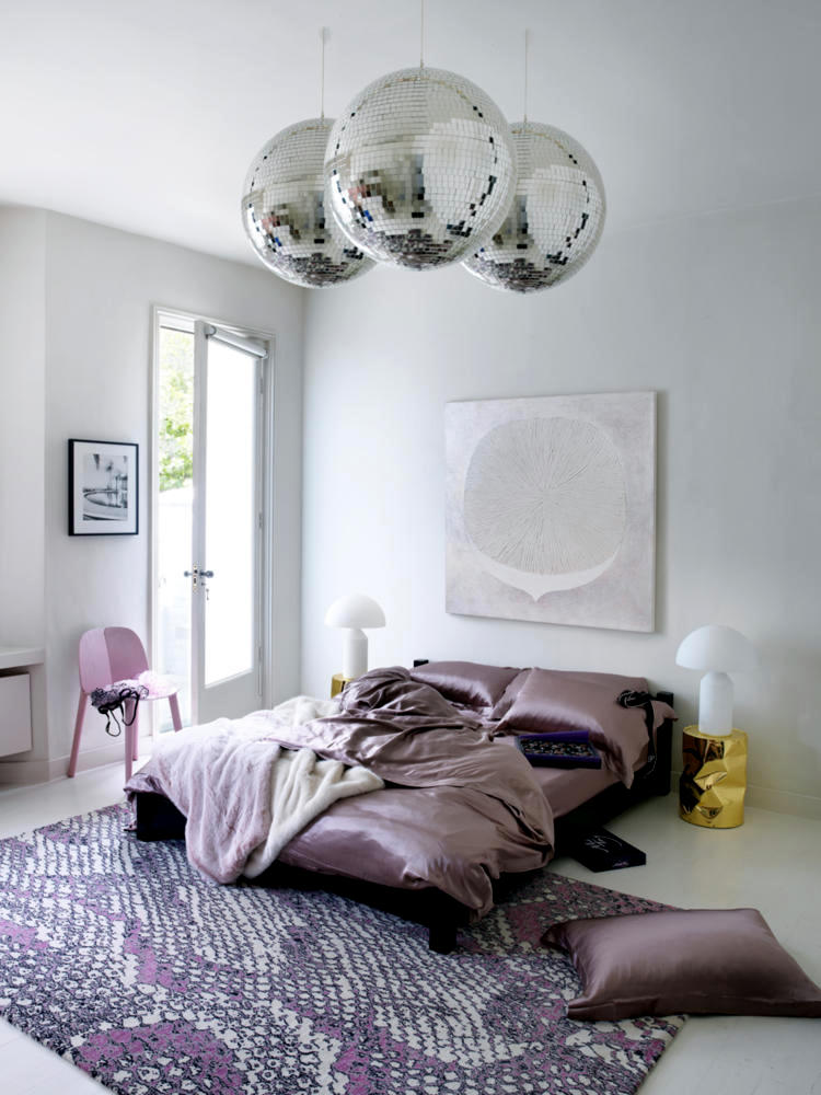 Satin Disco Balls And Pink Print Interior Design Ideas