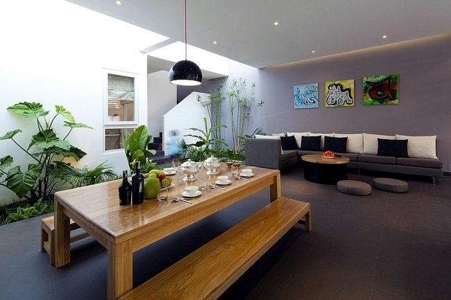 Put indoor plants as decoration on the scene house with for Interior design in vietnam
