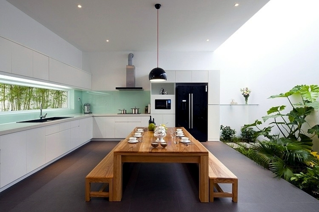 Put indoor plants as decoration on the scene - house with conservatory