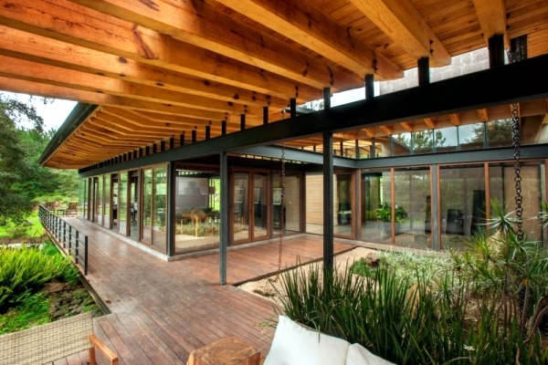 Flat Roof Modern Wooden House In A Mexican Forest