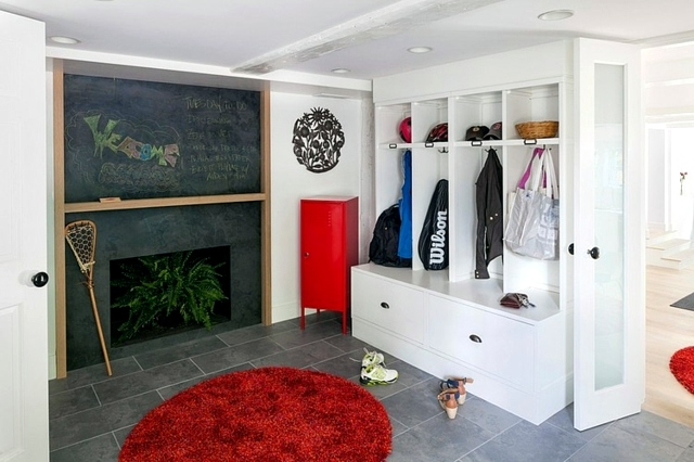 Scandinavian Living - decorated in white with red accents
