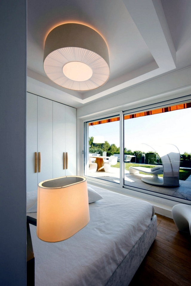 Interior of a modern apartment in white and wood