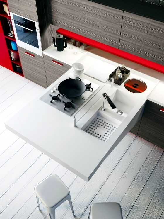 Compact kitchen by Snaidero - toilet, kitchen and dining on the map
