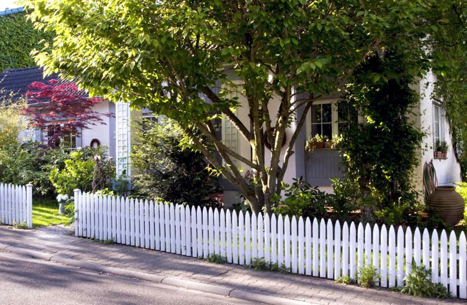 Front Yard With White Picket Fence And Trees Interior