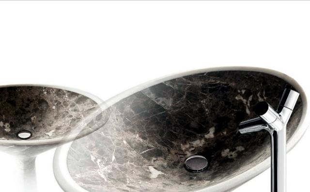 Single marble sinks, designed by Enzo Berti