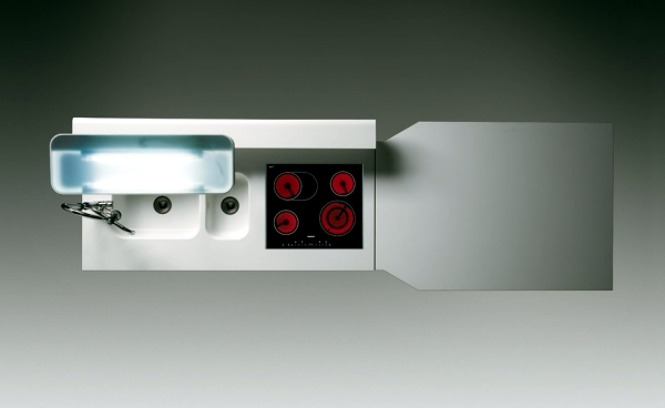 Kitchen Island Modern steel and Corian for open functional kitchens