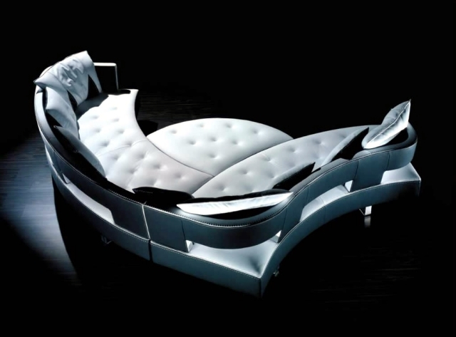 The New Leather Modular Sofa With Futuristic Shape