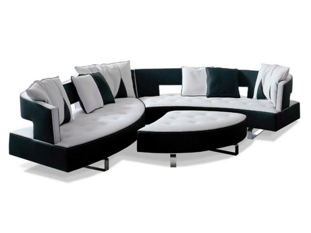 The new leather modular sofa with futuristic shape Formenti