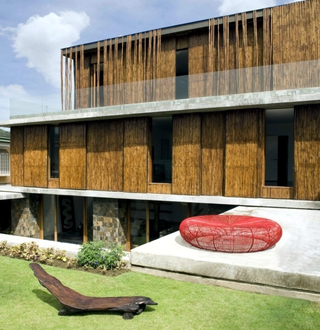 Exotic wood and stone house in the philippines interior for Stone and wood house plans