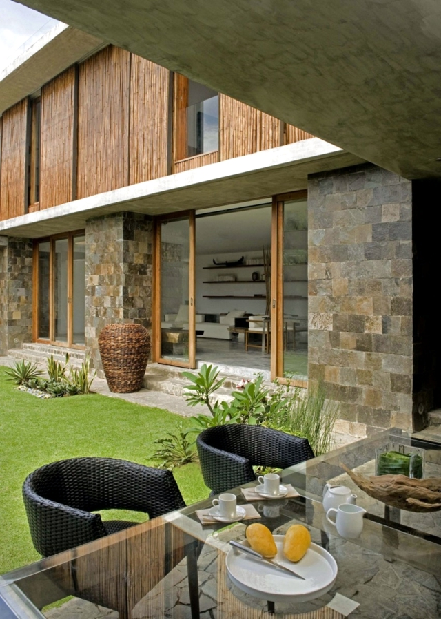 Exotic wood and stone house in the Philippines
