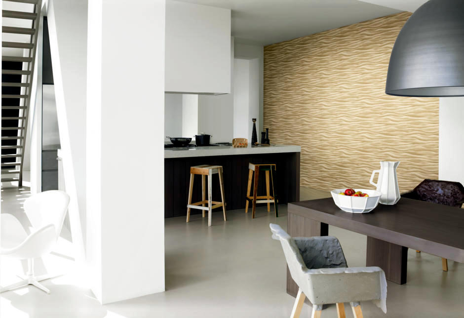 Modern Kitchen With Wallpaper Pattern Gold