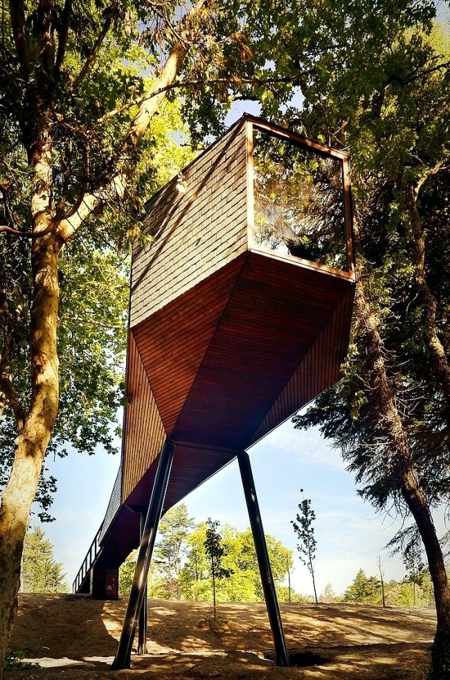 Two shelters modern mountain design meander through the trees