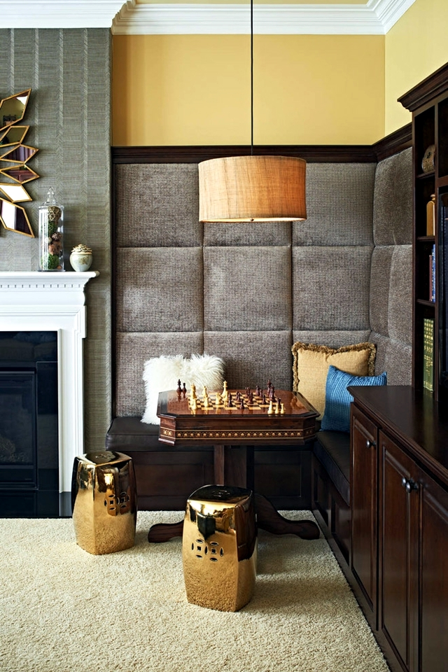 Wall Decoration With Stretched Fabrics Embellished Inside Interior