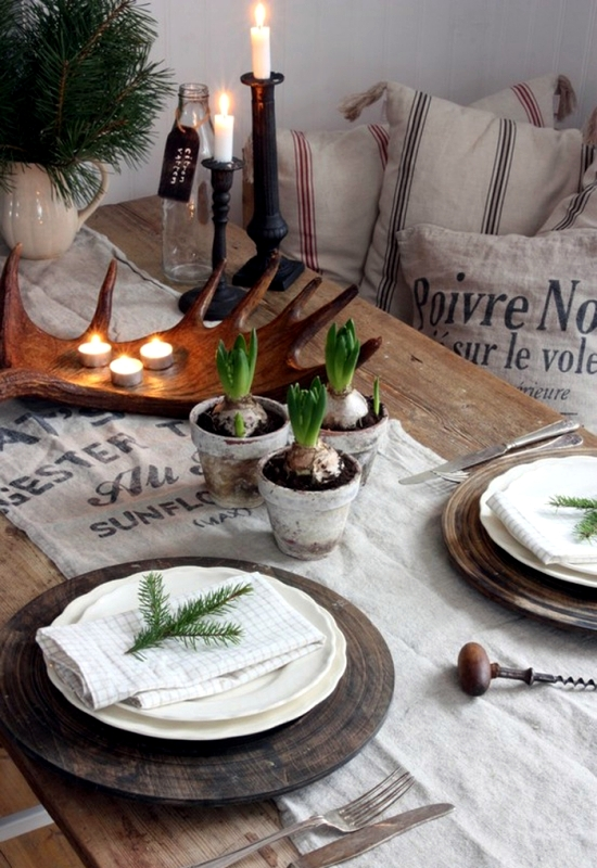 Winter table decor do it yourself natural materials and white winter