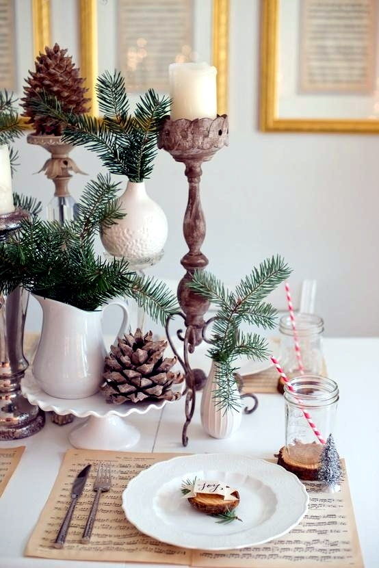 Winter table decor do it yourself natural materials and ...