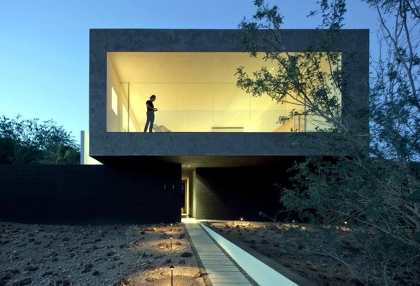 House Minimalist Architect Concrete And Glass In The