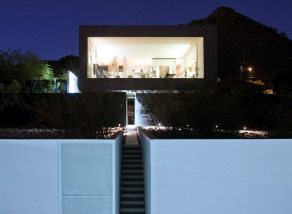 House minimalist architect concrete and glass in the desert