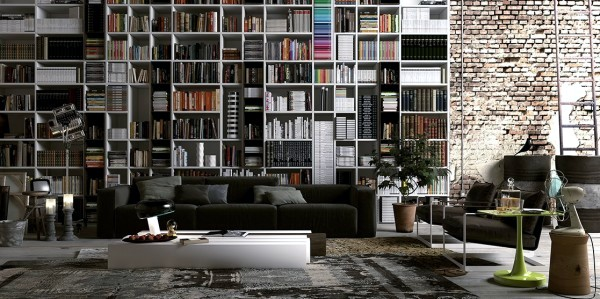 Modern shelves in exposure to private wood in the living room wall