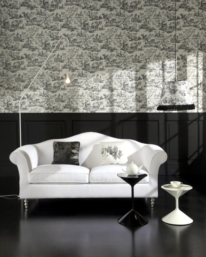 Wallpaper Patterned With Matching Hanging Lamp Interior Design Ideas Ofdesign