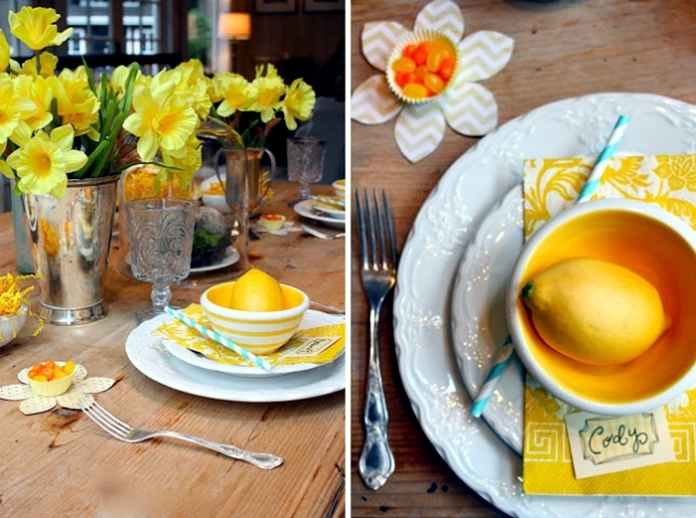 Spring colors for the Easter table decoration - green and yellow