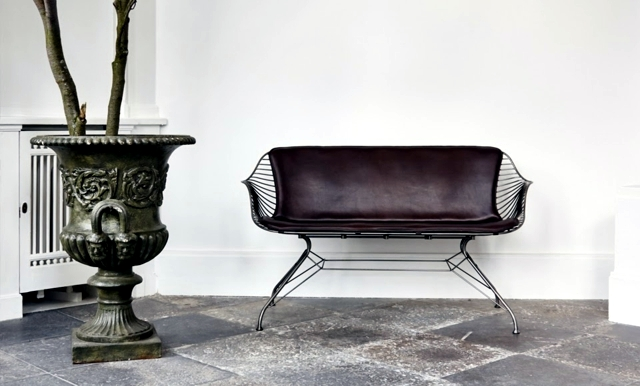 Metal furniture design - comfortable seats with leather seating