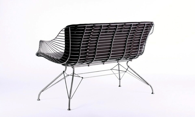 Designer Mobel Aus Metall Bequeme Sitzgruppe Mit Lederspolsterung