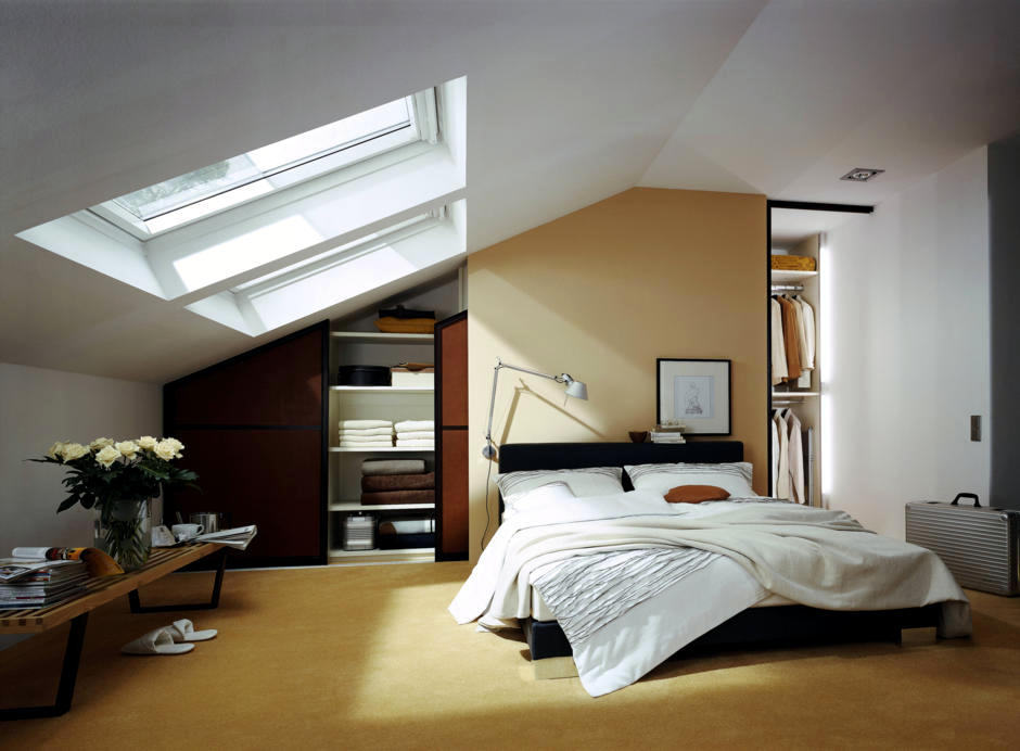 attic bonus room ideas - Built in wardrobe in the bedroom with sloping roof