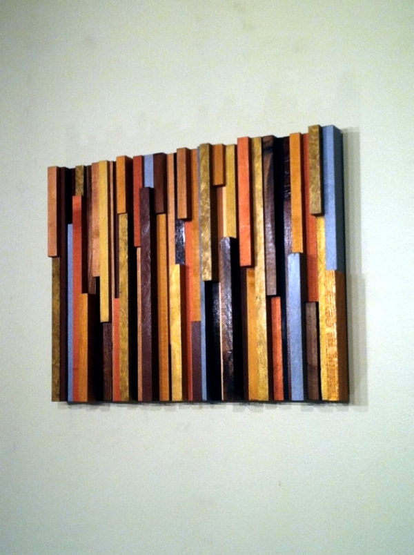 wall art made from recycled wood gives your home a special touch