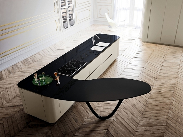 Designer kitchen with island - The gloss lacquer OLA25