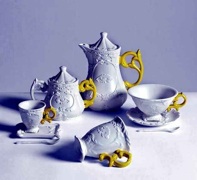 In porcelain tea set with handles funky colors - I-goods by Seletti