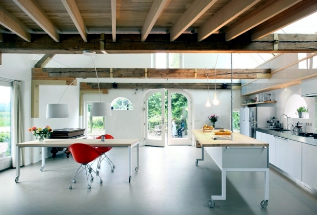 Renovated gable house features an open and spacious living room