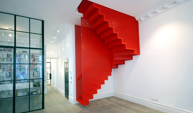 Floating Staircase In Bright Red And Striking By Slide