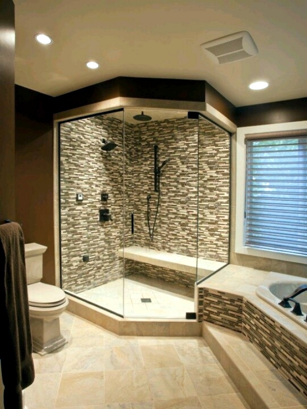 Shower with glass walls. only by the equipment  The walk in shower  combined