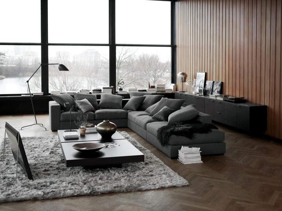 Dark grey sofa living room ideas for Gray living room black furniture