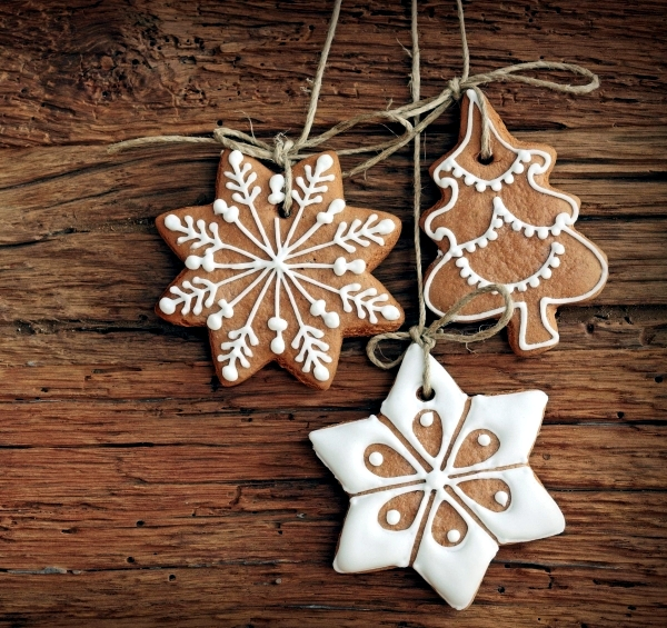 decorations for christmas trees with christmas cookies and gingerbread