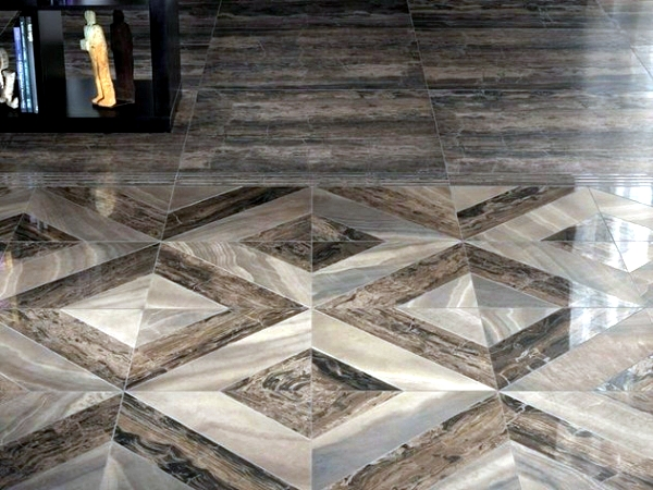 Porcelain Tile With The Look Of Wood And Marble Effect