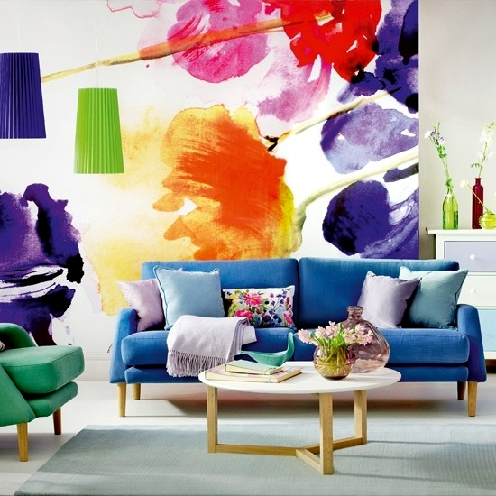 13 Creative Ideas For The Design Of The Wall In The Living Room With Floral Motifs Interior