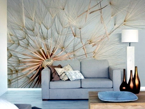 13 creative ideas for the design of the wall in the living room with floral m - Decoration mural salon ...