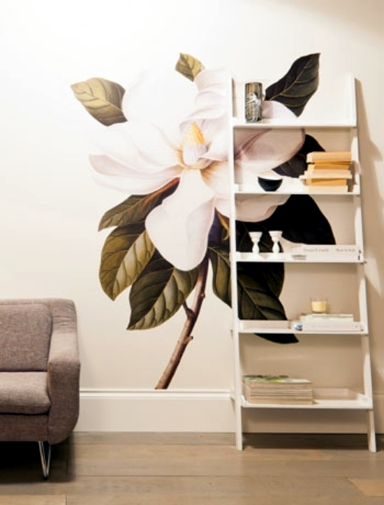 13 creative ideas for the design of the wall in the living room with floral motifs