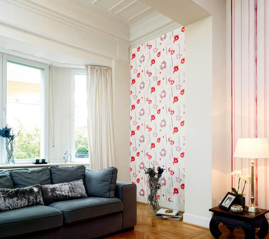 Wallpaper patterned with bright red paper interior for Bright wallpaper for living room