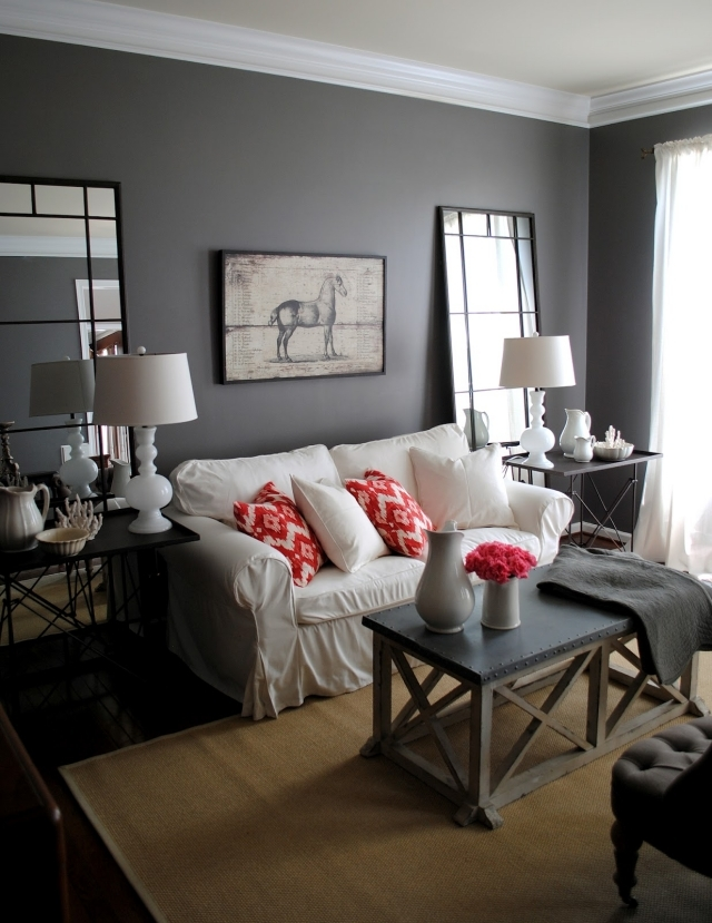 Living Room Painting Design: Color Ideas For Living Room – Gray Wall Paint.