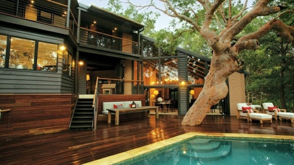 home terrace design. Swim under the tree Modern terrace design  100 images and creative ideas Interior