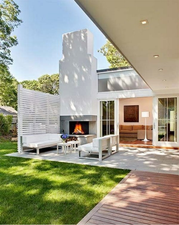 Sitting next to the fireplace modern terrace design 100 images and creative ideas