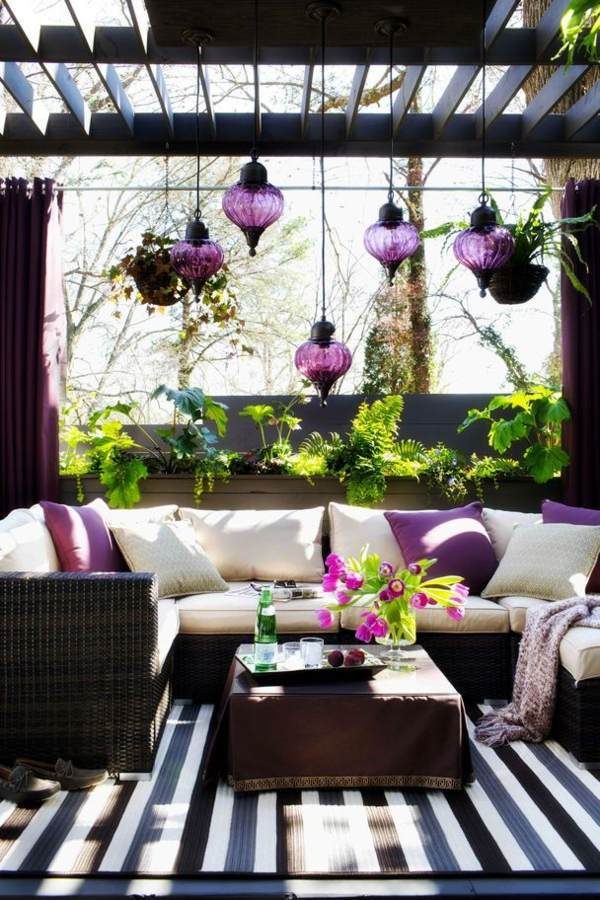Purple Track As A Design Concept Modern Terrace Design   100 Images And  Creative Ideas Rattan ...