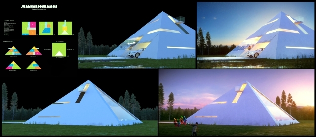 An awesome 3d house concept as a pyramid of Juan Carlos Ramos